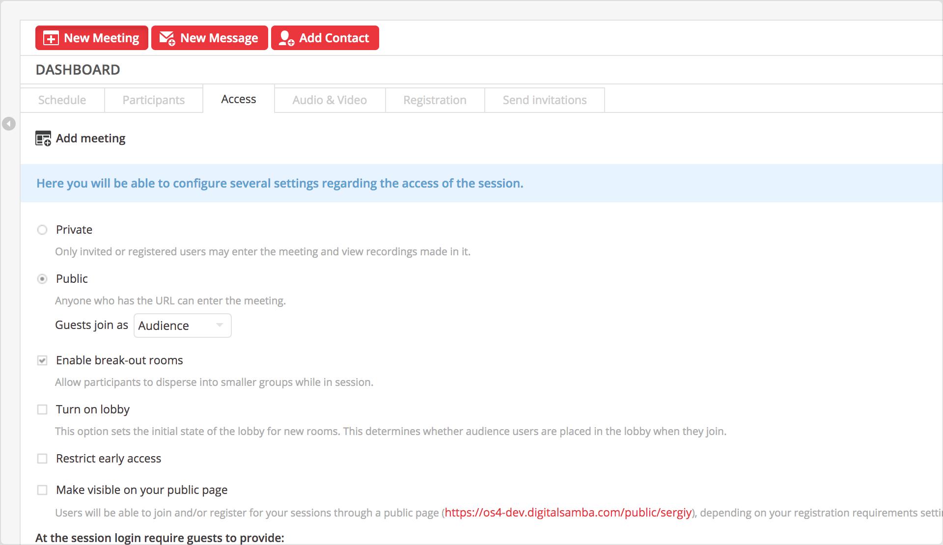 1. Configure access settings