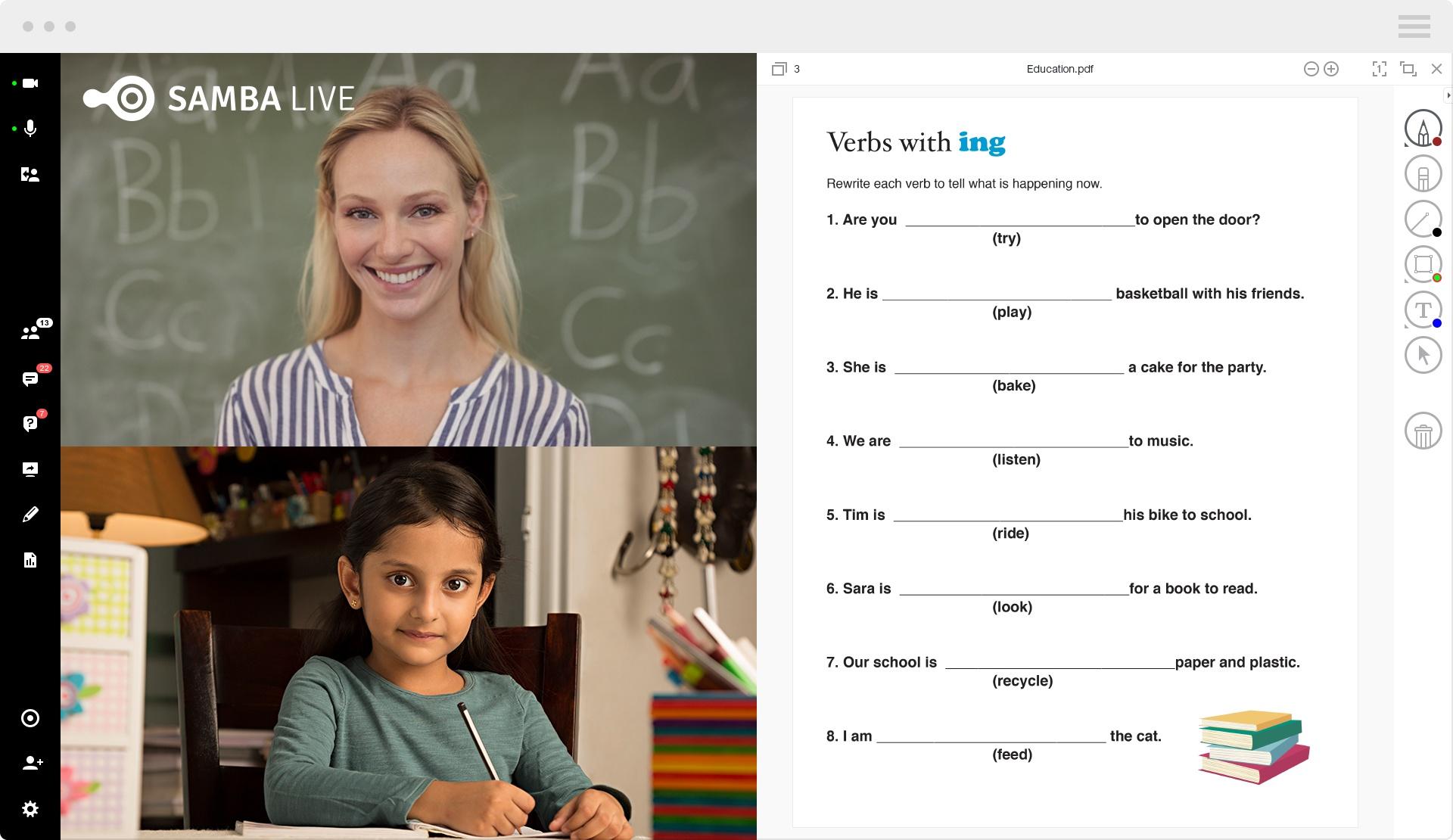 Virtual classroom for teaching