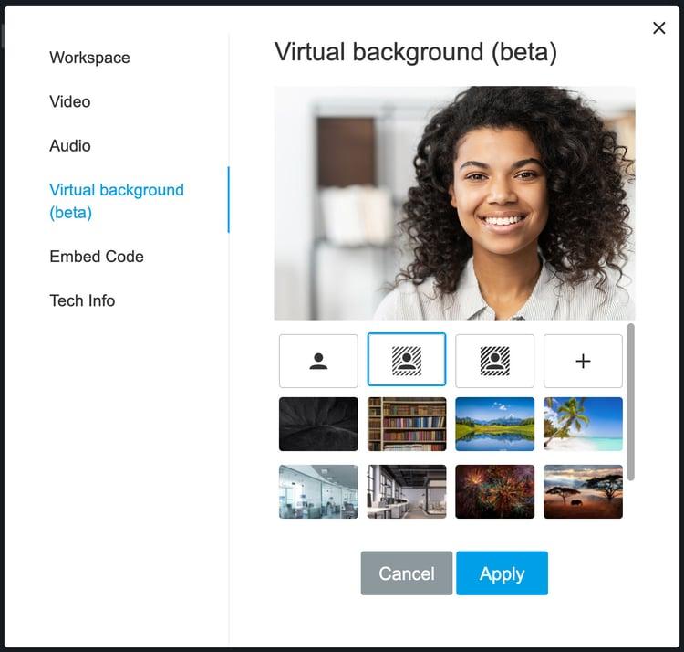 Choose a virtual background in Samba Live.